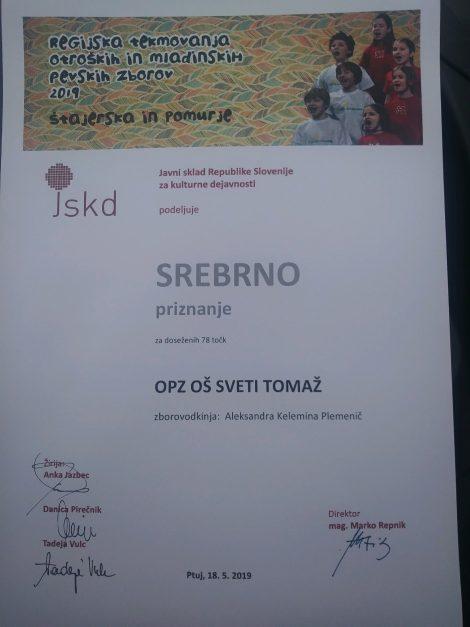 Otroški pevski zbor OŠ Sveti Tomaž na regijskem tekmovanju prejel srebrno priznanje
